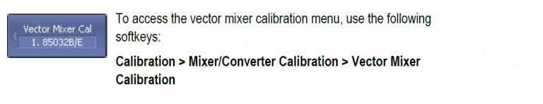 Vector Mixer Calibration Menu