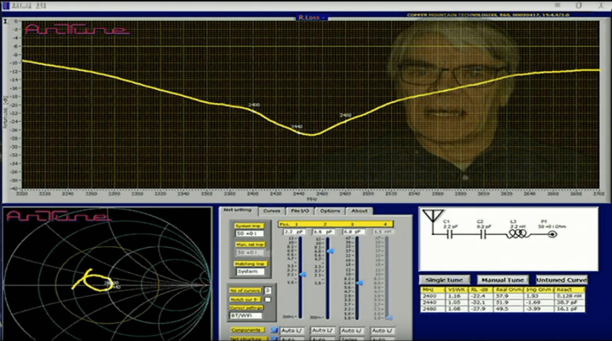 AnTune Antenna impedance matching and antenna efficiency measurement demonstration Screenshot